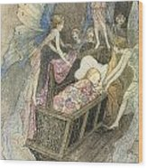 Sweetly Singing Round About They Bed Wood Print by Warwick Goble