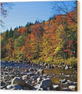 Swift River In Autumn Wood Print