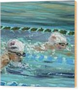 Swimmers Wood Print by Paul Mitchell