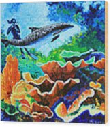 Swimming With The Dolphins Wood Print