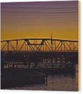 Swing Bridge Sunset Wood Print