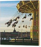 Swings At Sunset Wood Print