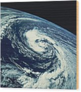 Swirl Of Clouds Over The Earth Wood Print