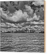 Sydney-black And White Wood Print