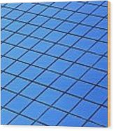 Symmetrical Pattern Of Blue Squares Wood Print
