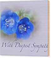Sympathy Card - Blue Wildflower Wood Print