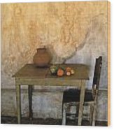 Table And Chairs Infront Of Weathered Wood Print
