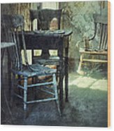 Table And Chairs Wood Print by Jill Battaglia