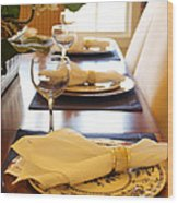 Table Set For Dinner Wood Print by Jeremy Allen