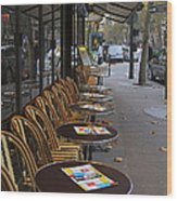 Tables Outside A Paris Bistro On An Autumn Day Wood Print