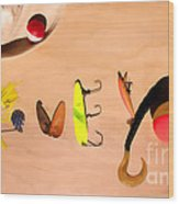 Tacklebox I Love You Wood Print by Cathy  Beharriell