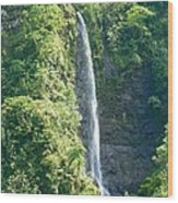 Tahitian Waterfall Wood Print