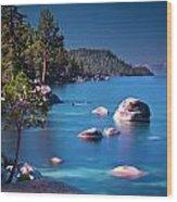 Tahoe On The Rocks Wood Print