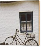 Tahtched Cottage And Bike Wood Print