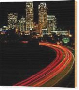 Taillights Toward Charlotte Skyline Wood Print