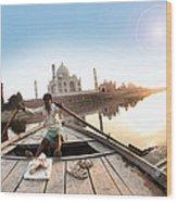Taj In Sun Light Wood Print