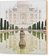 Taj Mahal On The Vertical Wood Print