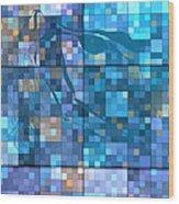 Take Me Geometric Blue Wood Print