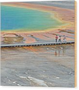 Taking A Stroll At Yellowstone's Grand Prismatic Wood Print by Bruce Gourley