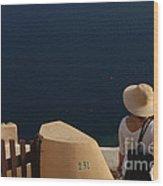 Taking In The View Santorini Wood Print