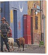 Taking Sheep To Market At Chichicastenango Wood Print