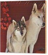 Takoda And Alaska In The Fall Wood Print