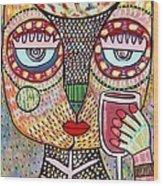 Talavera Feather Owl Drinking Red Wine S Wood Print