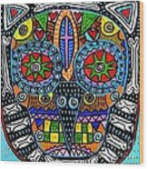Talavera Sugar Skull Owl Wood Print
