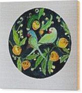 Talkative Parakeets Wood Print