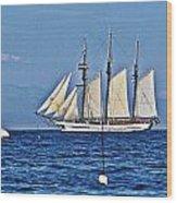 Tall Ship Blues Wood Print