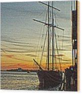 Tall Ship In Manhattan Wood Print