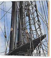 Tall Ship Mast Wood Print