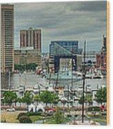 Tall Ships At Baltimore Inner Harbor Wood Print