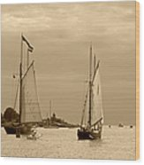 Tall Ships Sailing In Sepia Wood Print
