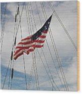 Tallship Flag Wood Print