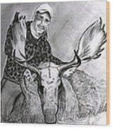 Tamed Moose Wood Print by Carolyn Ardolino