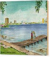 Tampa Fl Little Pier At Ballast Point Wood Print