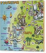 Tampa Florida Cartoon Map Wood Print