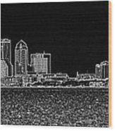 Tampa Panorama Digital - Black And White Wood Print