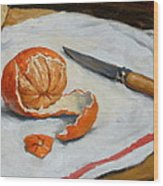 Tangerine And Knife Wood Print by Thor Wickstrom