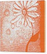 Tangerine Daisy By Shawna Erback Wood Print