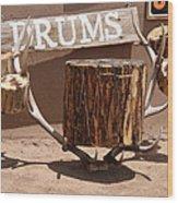 Taos Drum Shop Wood Print