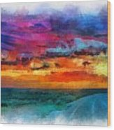 Taos Sunset Iv Watercolor Wood Print