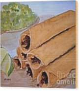 Taquitos With Salsa Wood Print