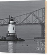 Tarrytown Lighthouse And Tappan Zee Bridge Viii Wood Print by Clarence Holmes
