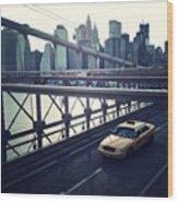 Taxi On Bridge Wood Print