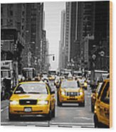 Taxis On 6th Avenue Wood Print