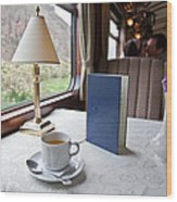 Tea Is Served By Peru Rail On The Way Wood Print by Michael &Amp Jennifer Lewis