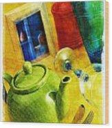 Tea Pot Wood Print