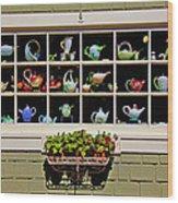 Tea Pots In Window Wood Print